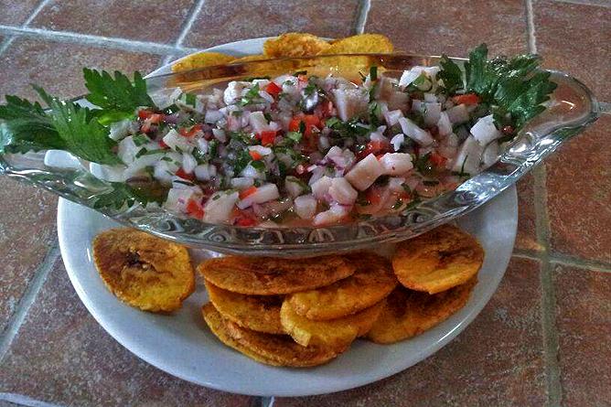 Finca Luna Nueva – Restaurant: Ceviche mit Kochbananenfritters