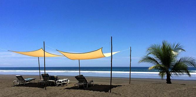 Rafiki-Beach-Camp_Strand-mit-Liegen-und-Sonnenschirmen