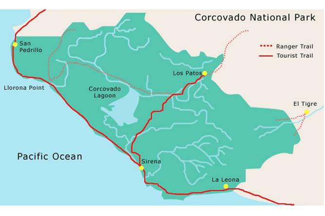 Wanderung Los Patos-Sirena Wanderwege im Corcovado Nationalpark Osa Ventura