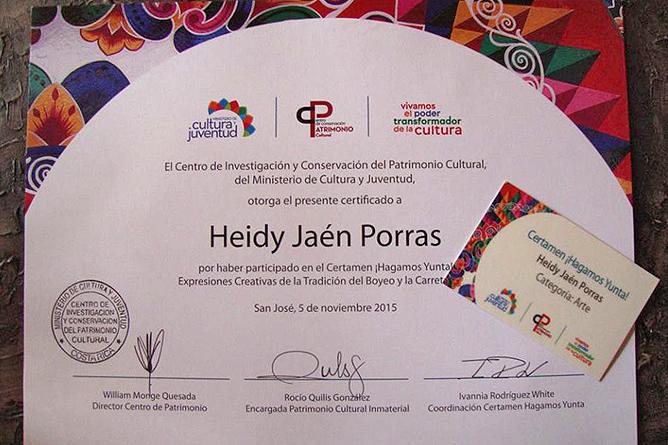 Heidy Jaen Porras Auszeichnungen