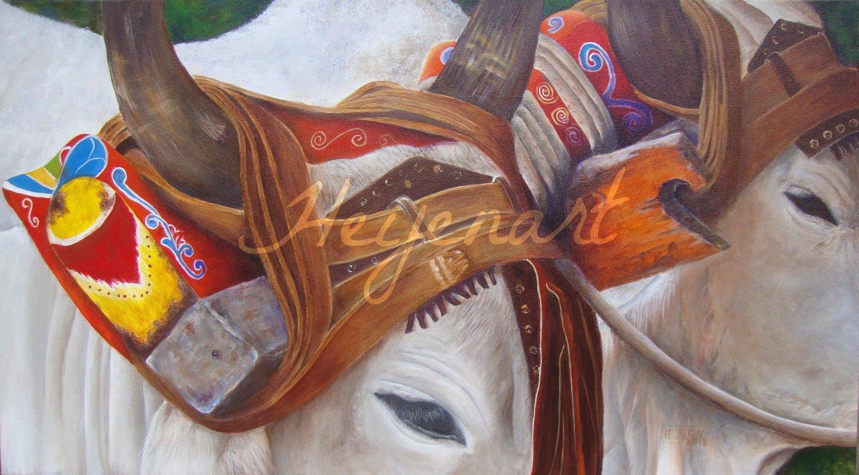 Heidy Jaen Porras Gemälde Bueyes – Ochsenkarren