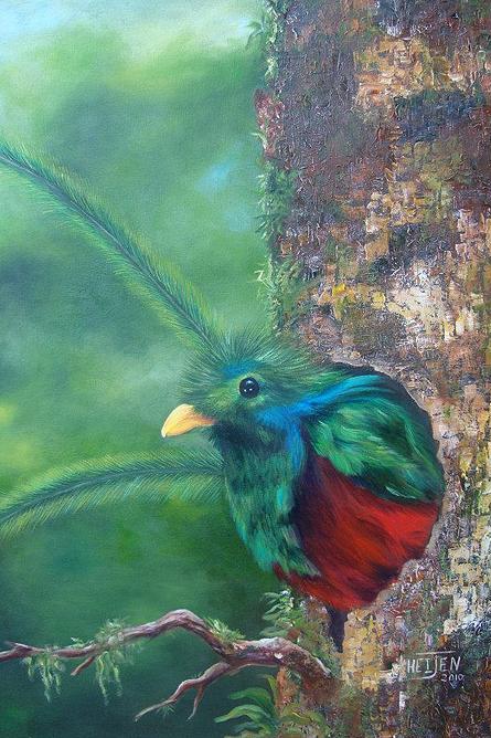 Heidy Jaen Porras Quetzal Vogel Gemälde – verkauft