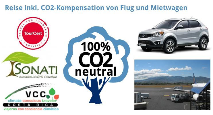 Pura Vida Travel Rundreisen – CO2-Kompensation von Flug und Mietwagen