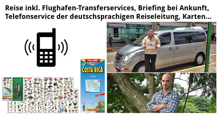 Pura Vida Travel Rundreisen – Flughafentransfers, deutschsprachiger Telefonservice der Reiseleitung, Briefing bei Ankunft